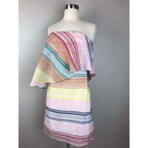 Shoshanna Tiered Strapless Rainbow Mini Dress